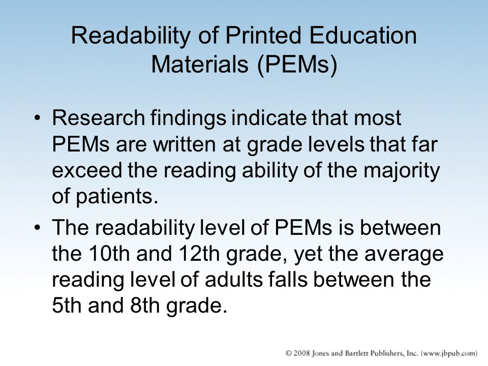 Readability of Printed Education Materials (PEMs)