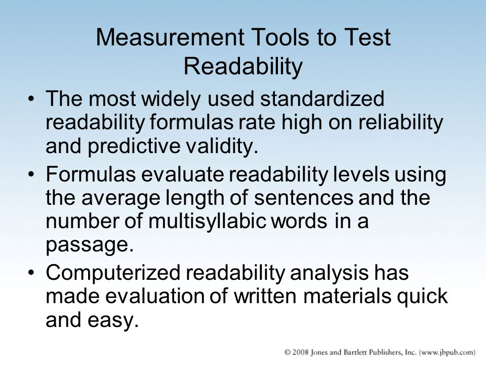 Measurement Tools to Test Readability