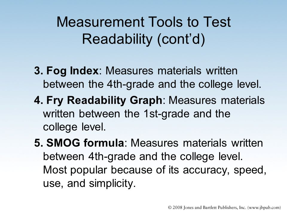 Measurement Tools to Test Readability (cont'd)
