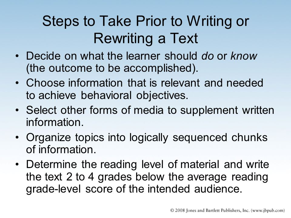 Steps to Take Prior to Writing or Rewriting a Text