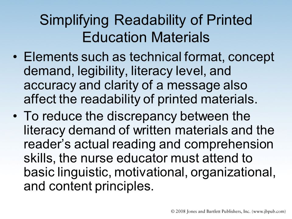 Simplifying Readability of Printed Education Materials