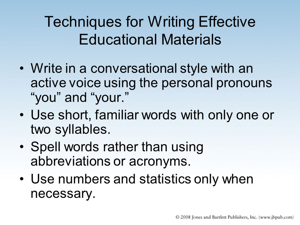 Techniques for Writing Effective Educational Materials