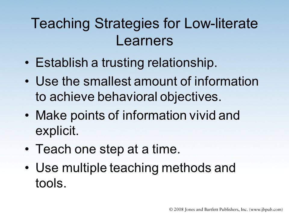 Teaching Strategies for Low-literate Learners