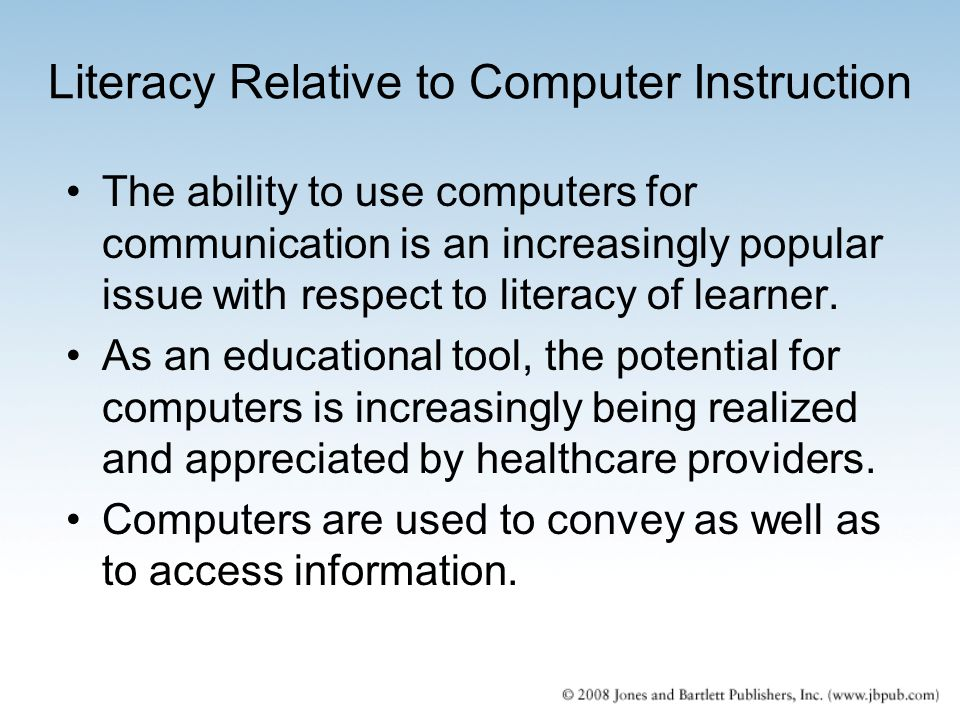Literacy Relative to Computer Instruction