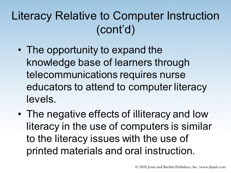 Literacy Relative to Computer Instruction (cont'd)