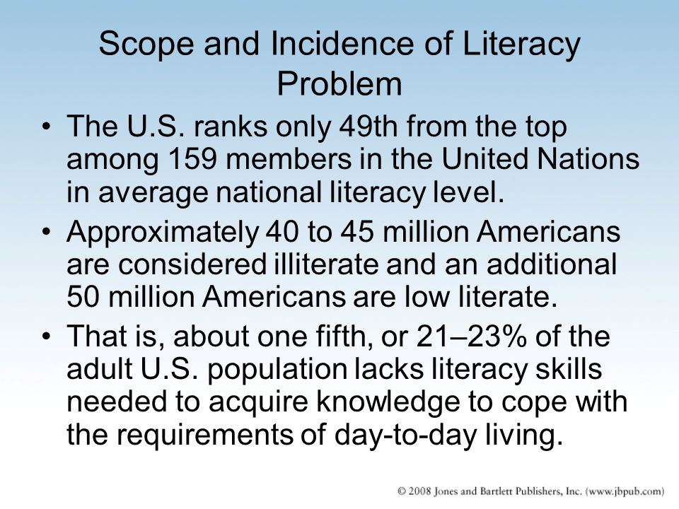 Scope and Incidence of Literacy Problem