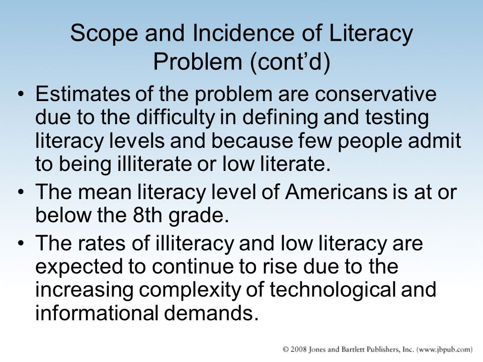 Scope and Incidence of Literacy Problem (cont'd)