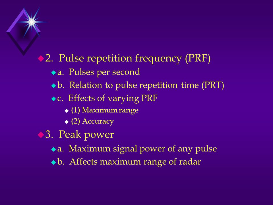 2. Pulse repetition frequency (PRF)