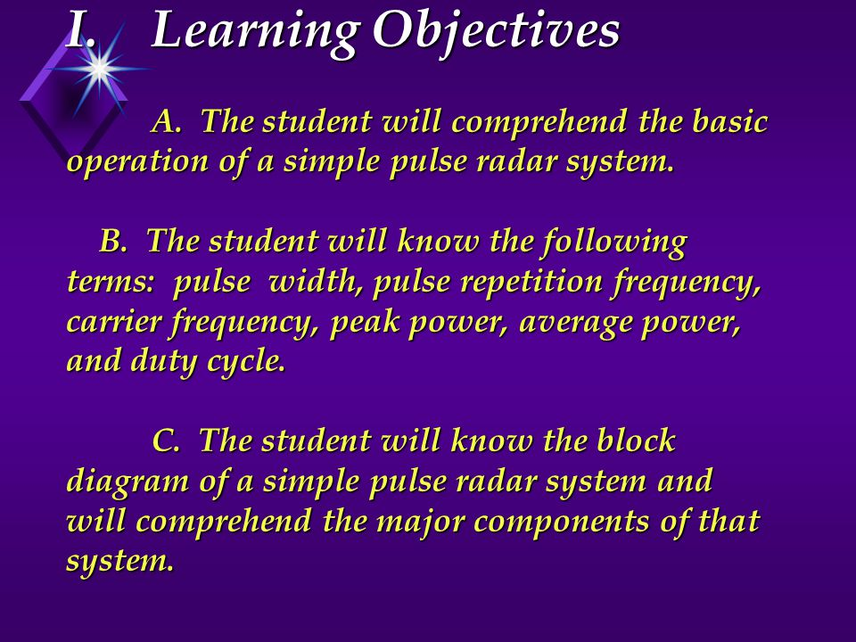 I. Learning Objectives. A
