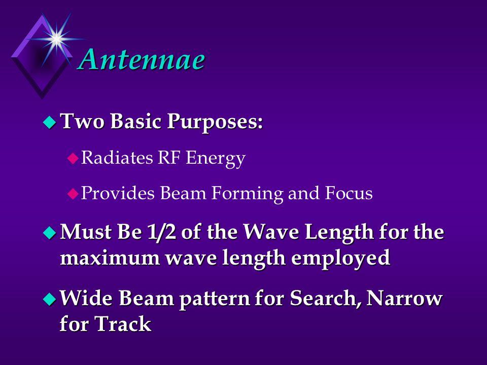 Antennae Two Basic Purposes: