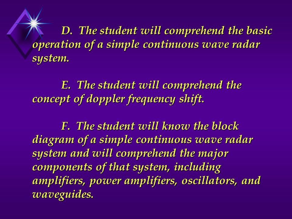 D. The student will comprehend the basic operation of a simple continuous wave radar system.