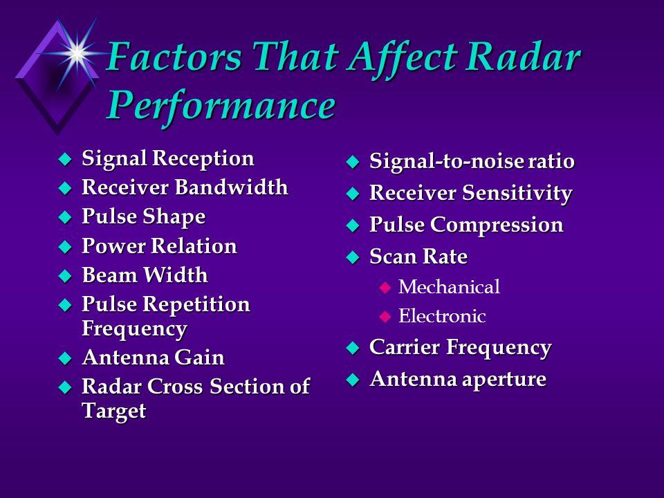 Factors That Affect Radar Performance
