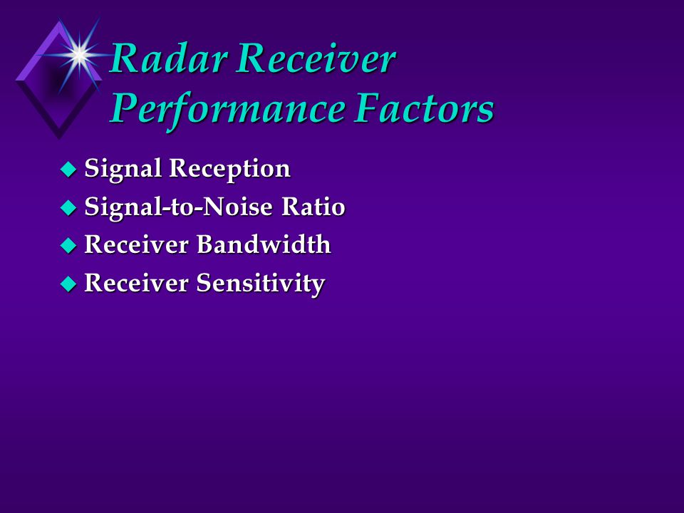 Radar Receiver Performance Factors