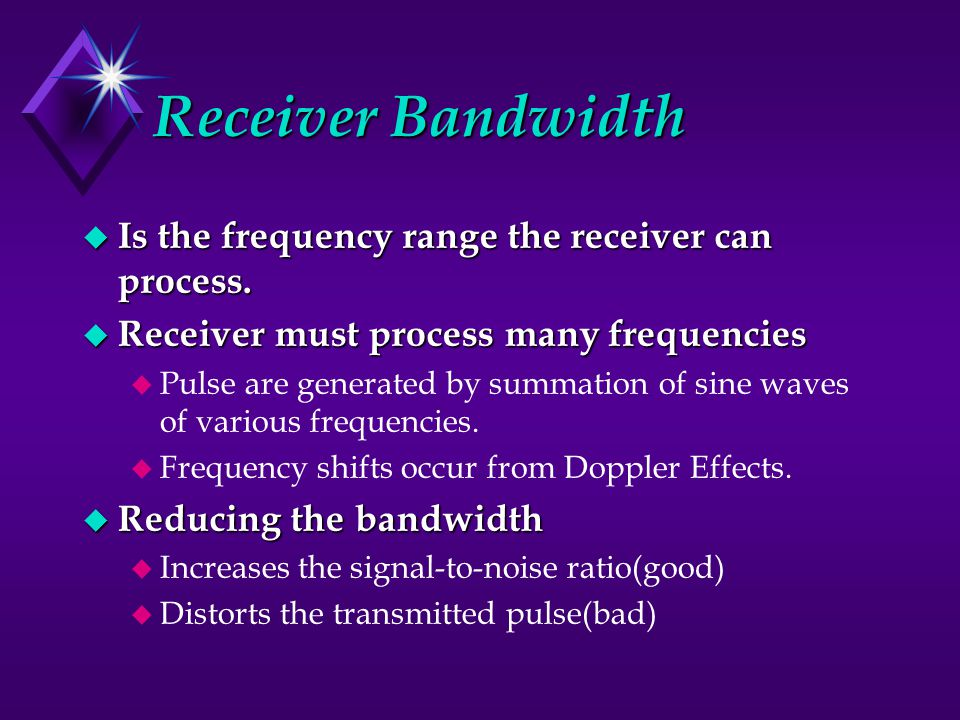 Receiver Bandwidth Is the frequency range the receiver can process.