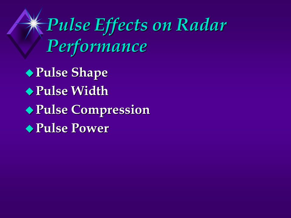 Pulse Effects on Radar Performance