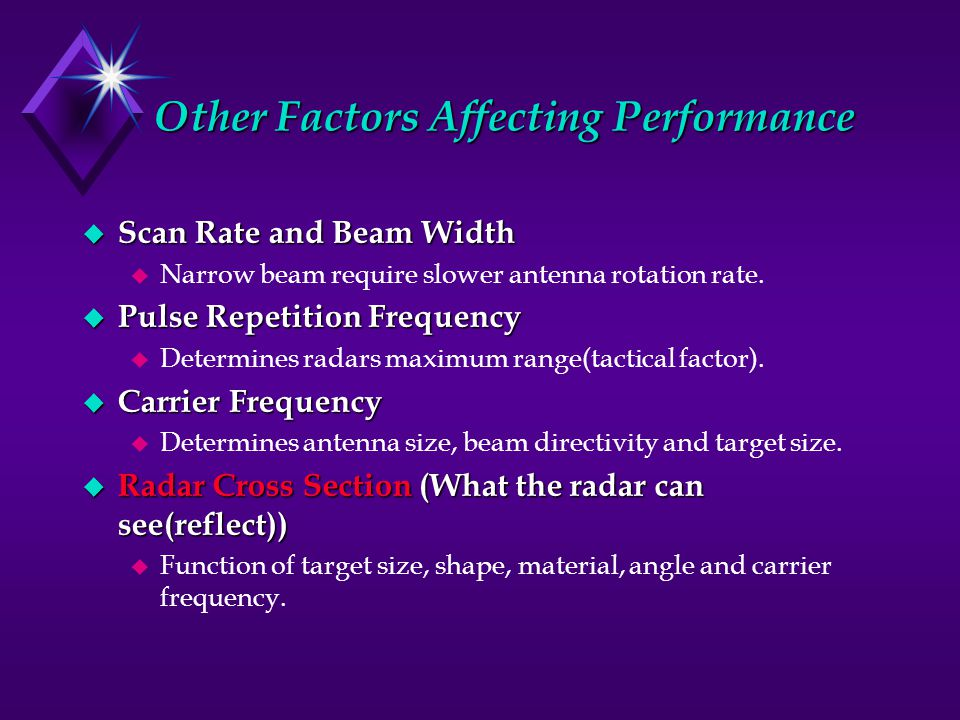 Other Factors Affecting Performance