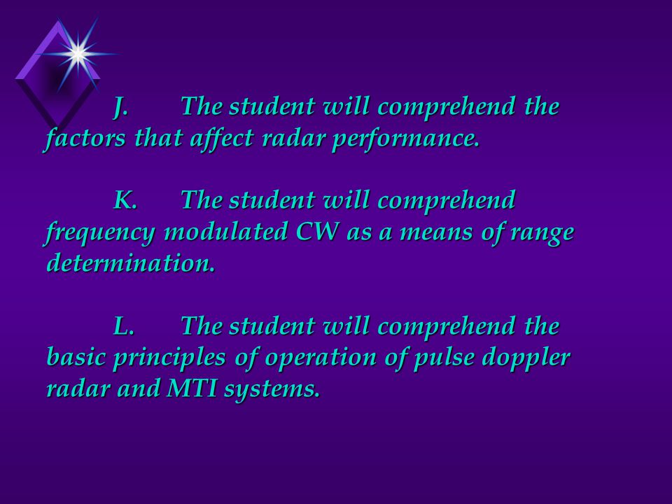 J. The student will comprehend the factors that affect radar performance.