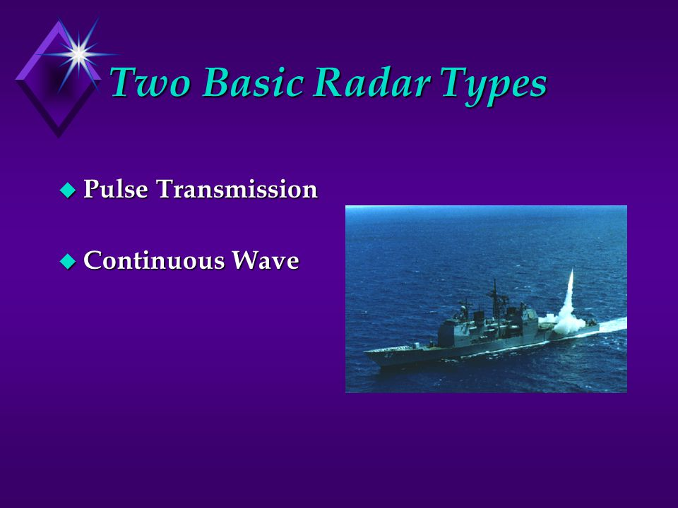Two Basic Radar Types Pulse Transmission Continuous Wave