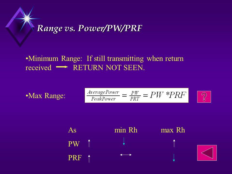 Range vs. Power/PW/PRF Minimum Range: If still transmitting when return received RETURN NOT SEEN.