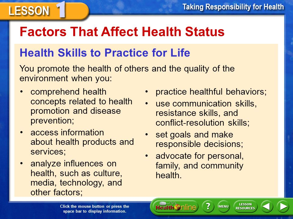 Factors That Affect Health Status