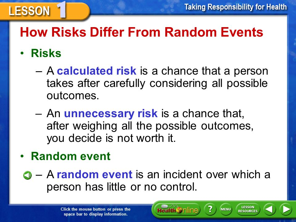 How Risks Differ From Random Events