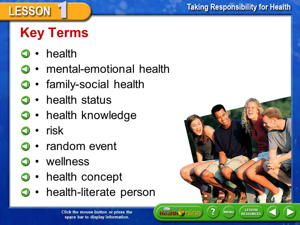 Key Terms health mental-emotional health family-social health