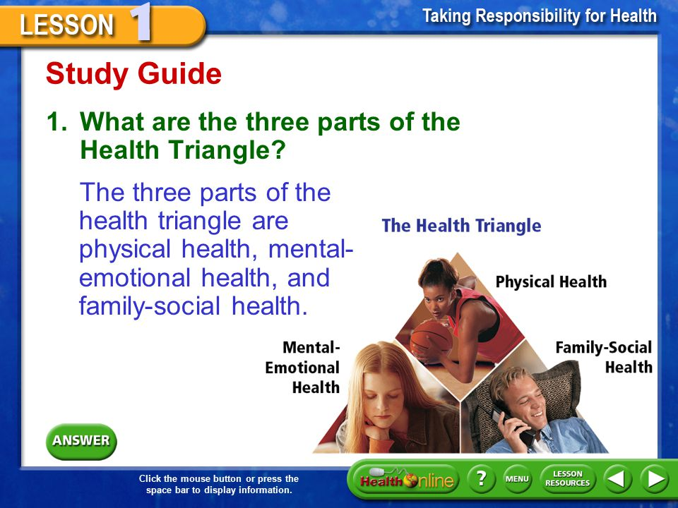 Study Guide 1. What are the three parts of the Health Triangle