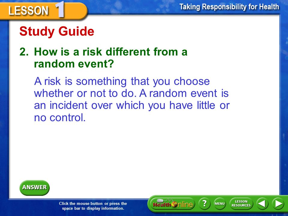 Study Guide 2. How is a risk different from a random event
