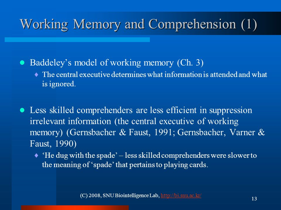 Working Memory and Comprehension (2)