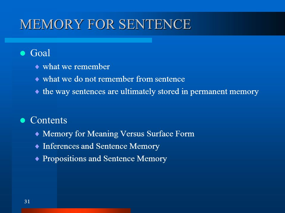 Memory for Meaning Versus Surface Form