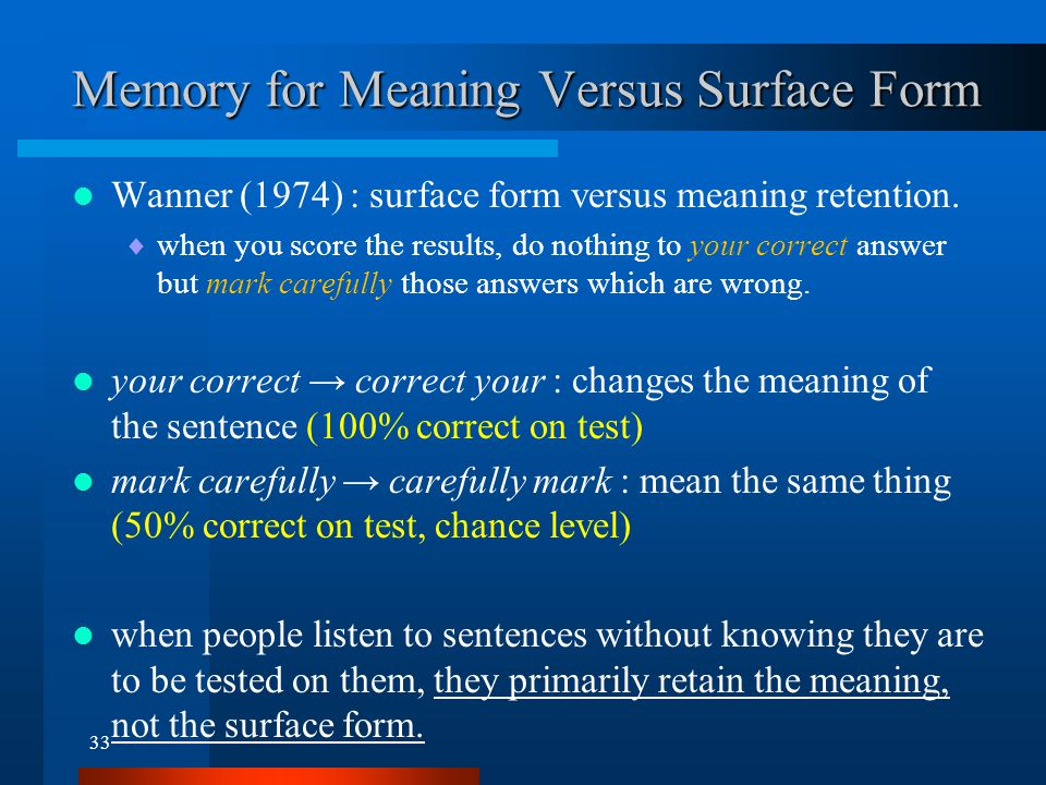 Memory for Meaning Versus Surface Form - Time Course of Retention