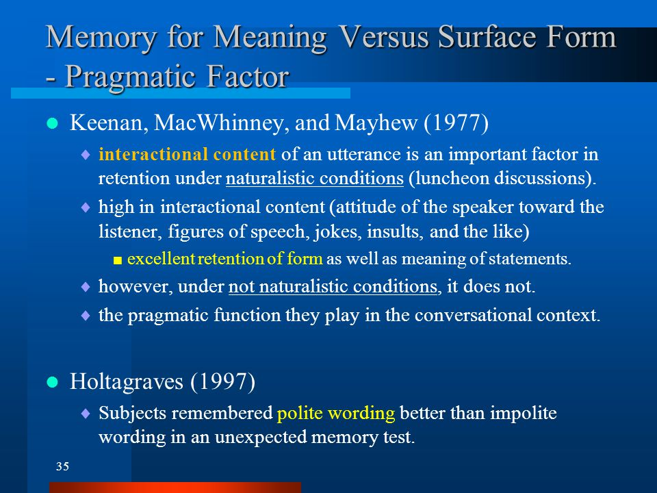 Inferences and Sentence Memory