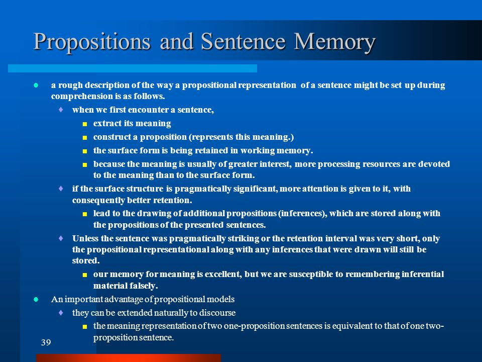 Ch 7. Discourse Comprehension and Memory