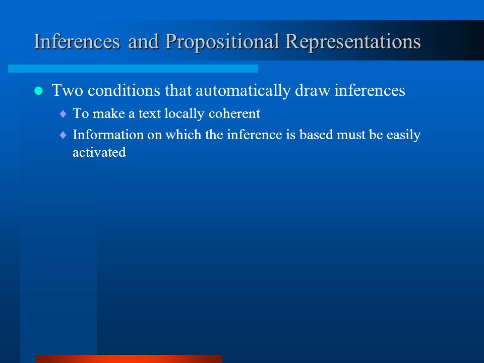 Inferences and Propositional Representations