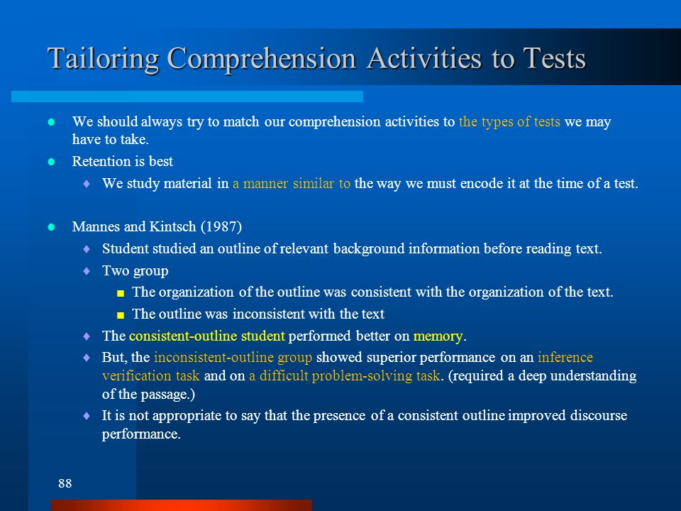 Tailoring Comprehension Activities to Tests