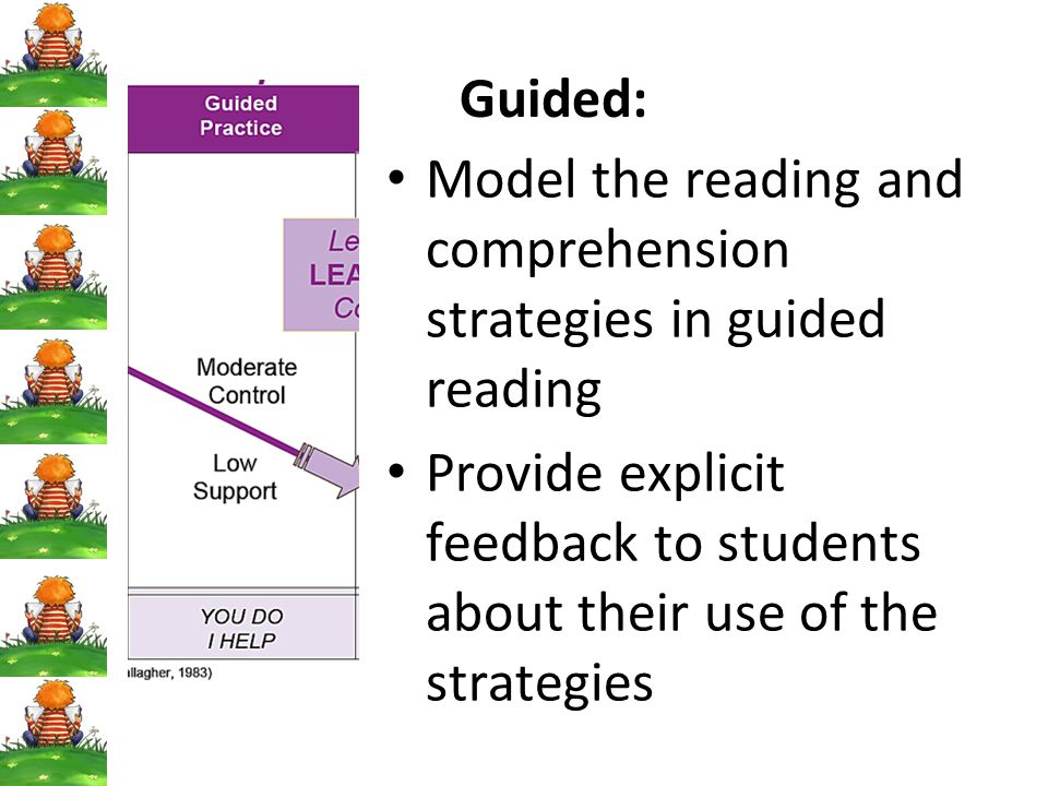 Guided: Model the reading and comprehension strategies in guided reading.
