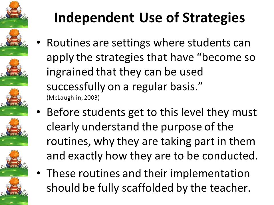 Independent Use of Strategies