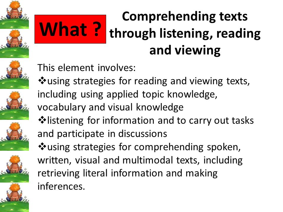 Comprehending texts through listening, reading and viewing