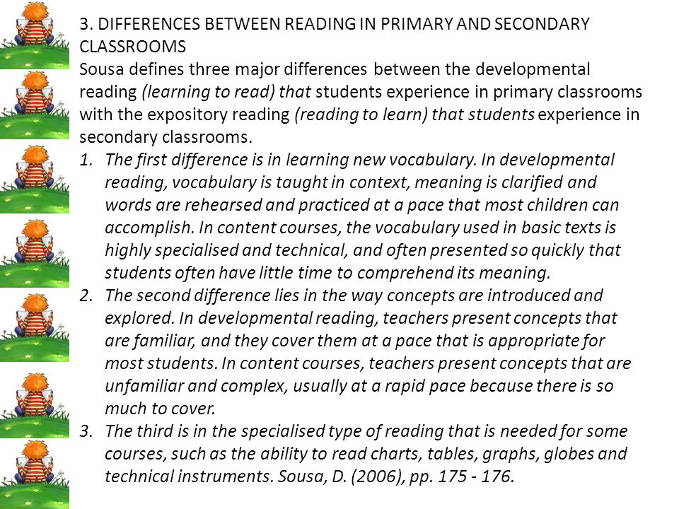 3. DIFFERENCES BETWEEN READING IN PRIMARY AND SECONDARY CLASSROOMS