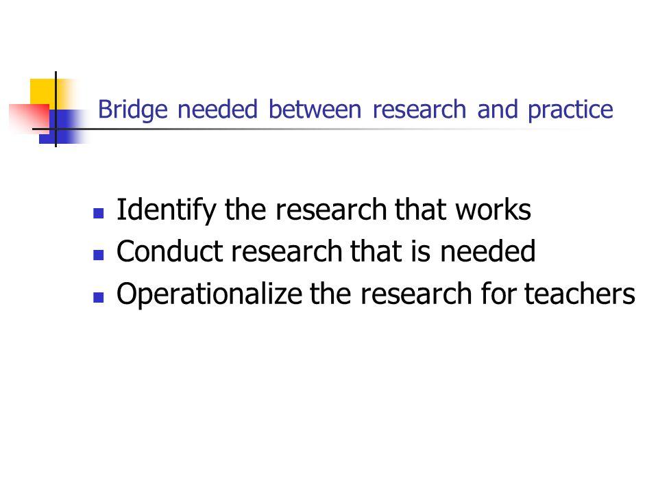 Bridge needed between research and practice