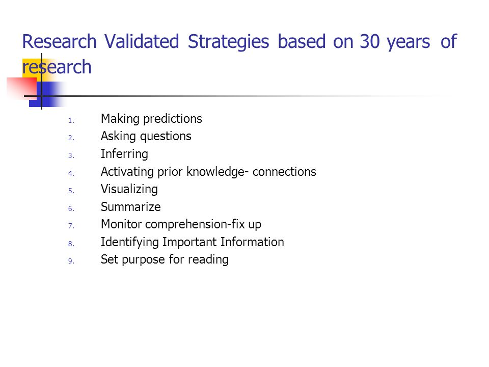 Research Validated Strategies based on 30 years of research