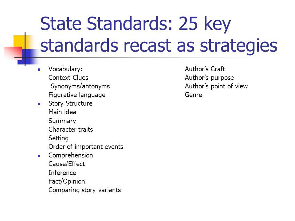 State Standards: 25 key standards recast as strategies