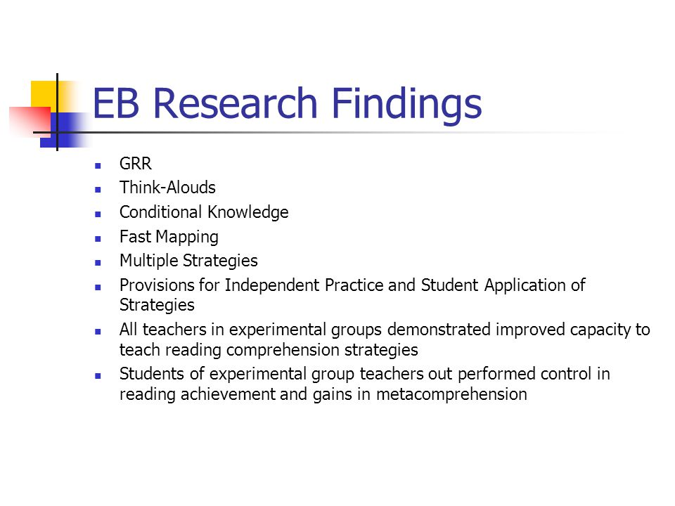 EB Research Findings GRR Think-Alouds Conditional Knowledge