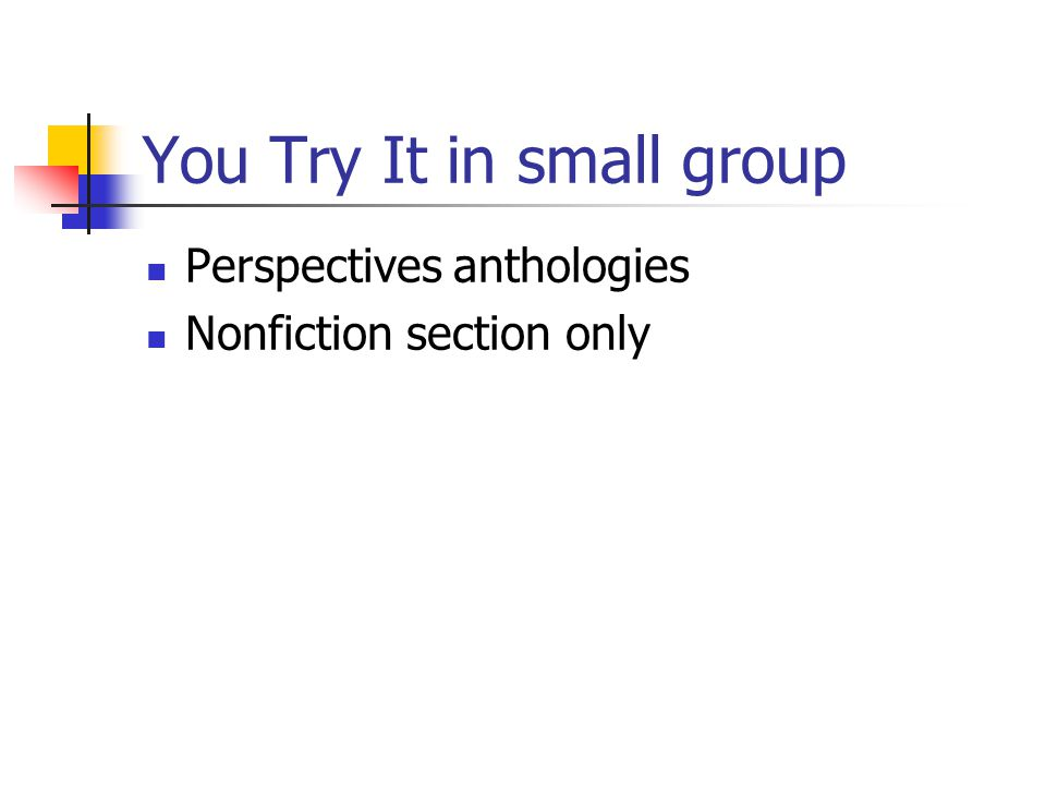 You Try It in small group