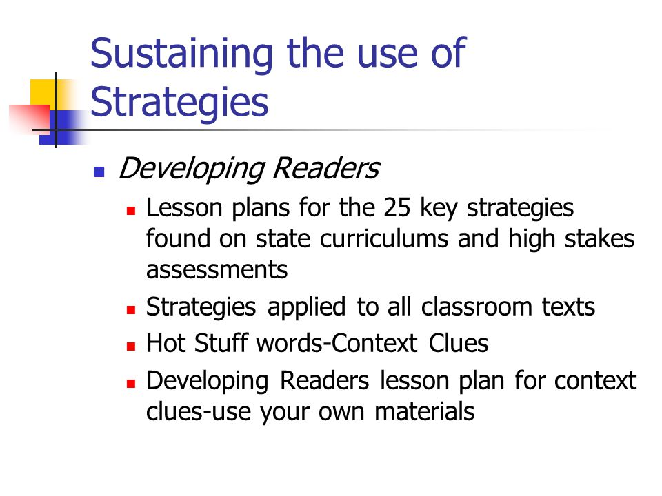 Sustaining the use of Strategies