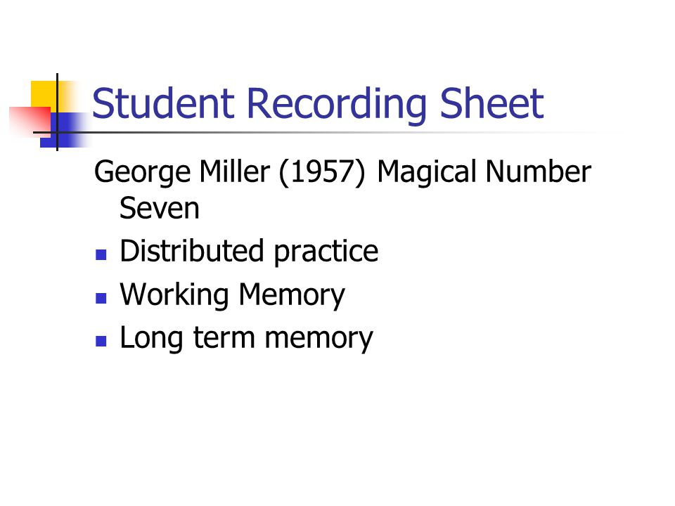 Student Recording Sheet