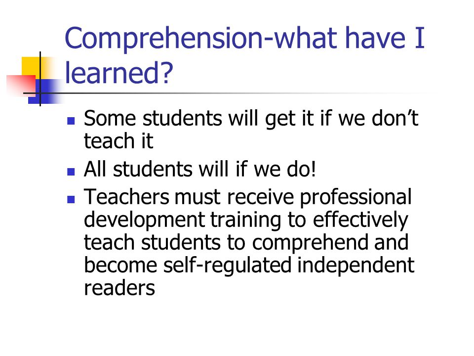 Comprehension-what have I learned