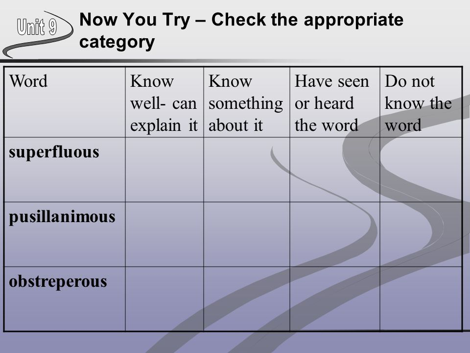 Now You Try – Check the appropriate category