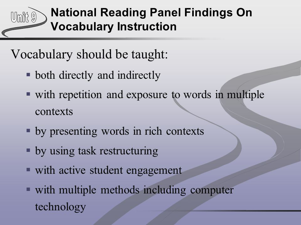 National Reading Panel Findings On Vocabulary Instruction