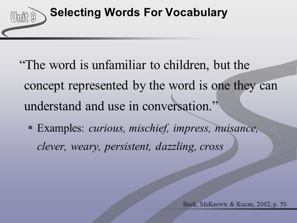 Selecting Words For Vocabulary